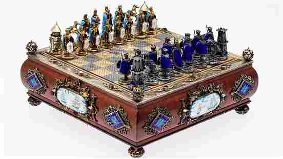 AustroHungarian Sterling, Enamel, Jeweled Chess Set