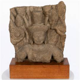 Cambodian Sandstone Fragment, Probably 13th Century