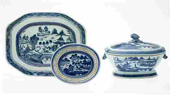 Chinese Export Blue & White Tureen, Platter & Plate