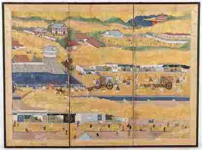 3 Panel Japanese Screen, Festival Scene in Kyoto