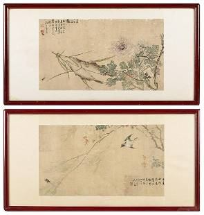 Two Chinese Ink and Color on Silk Framed Scrolls