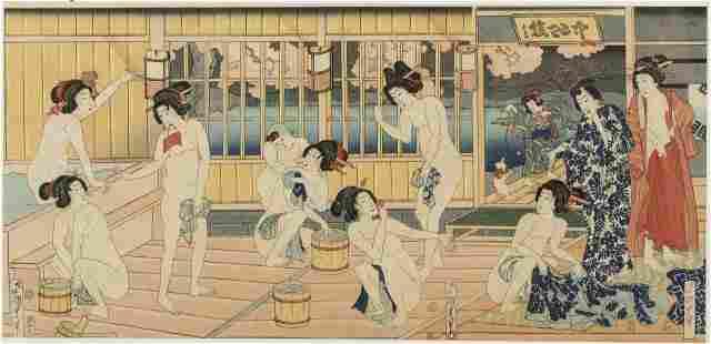 Utagawa Kunisada III, Public Bath, Woodblock Print