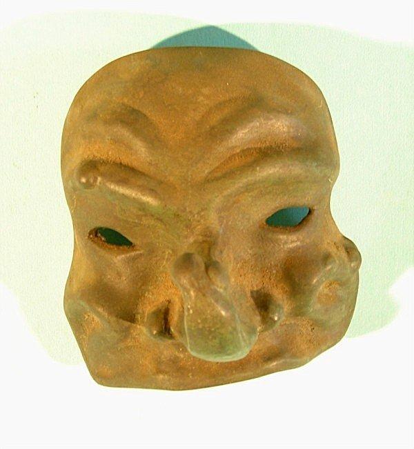 "451: Large nose metal mask with patina finish, 5"" tall,"