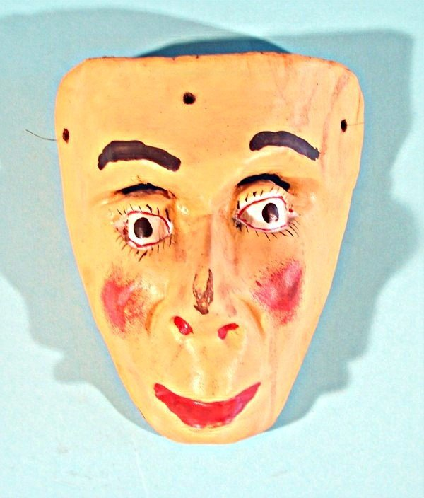 """453: Hand carved and painted wood mask, 9"""" tall, 7 ½"""" w"""