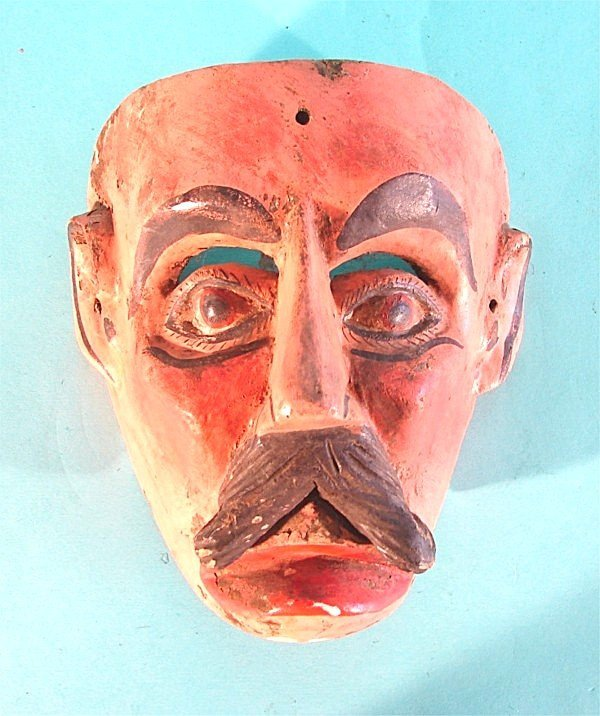 454: MAN WITH MUSTACHE, hand carved and painted wood ma