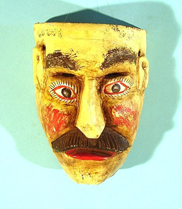 456: MAN WITH MUSTACHE, a hand carved and painted wood
