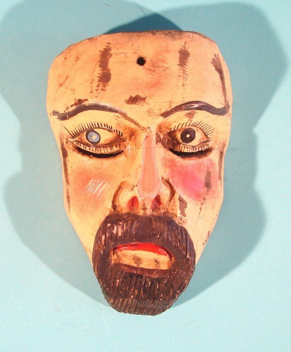 457: MAN WITH BEARD AND MUSTACHE, a hand carved and pai