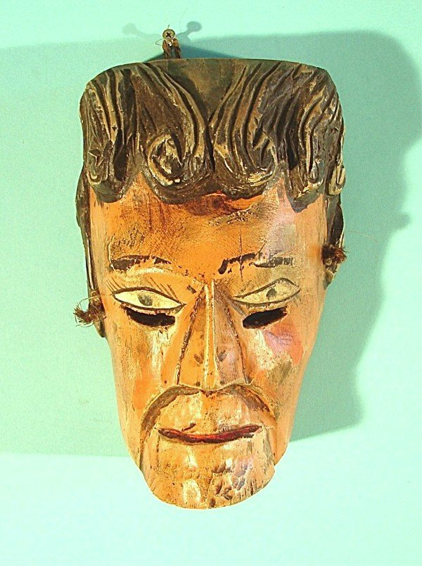 """461: Mexican hand carved and painted wood mask, 10 ½"""" t"""