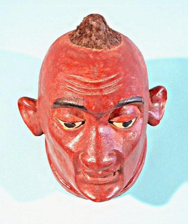 462: A hand carved and painted wood full head mask with