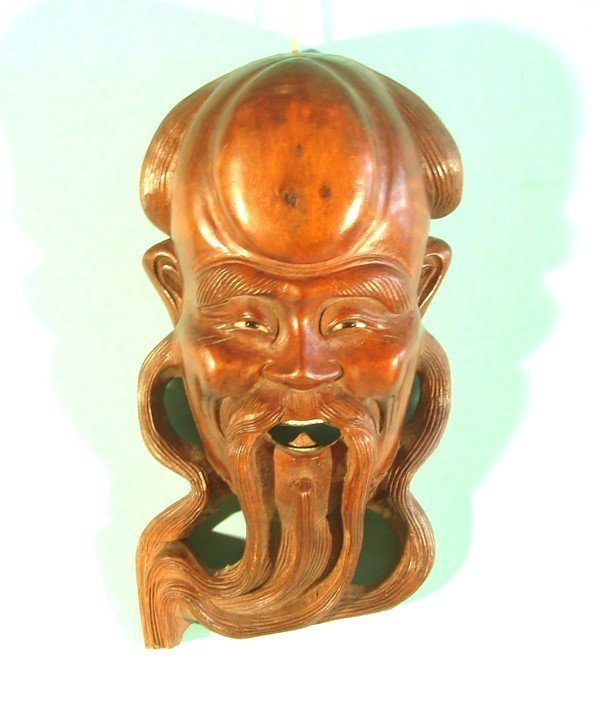 523: MAN WITH SWIRLING BEARD, hand carved wood mask wit