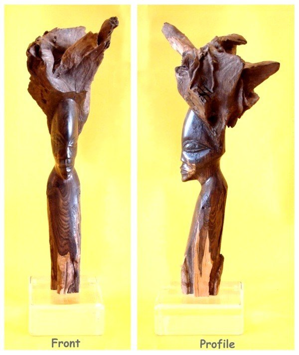 """565: MAN, partially hand carved wood sculpture, 12 ¾"""" t"""