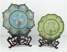 Chinese Plique a Jour Plates (two)