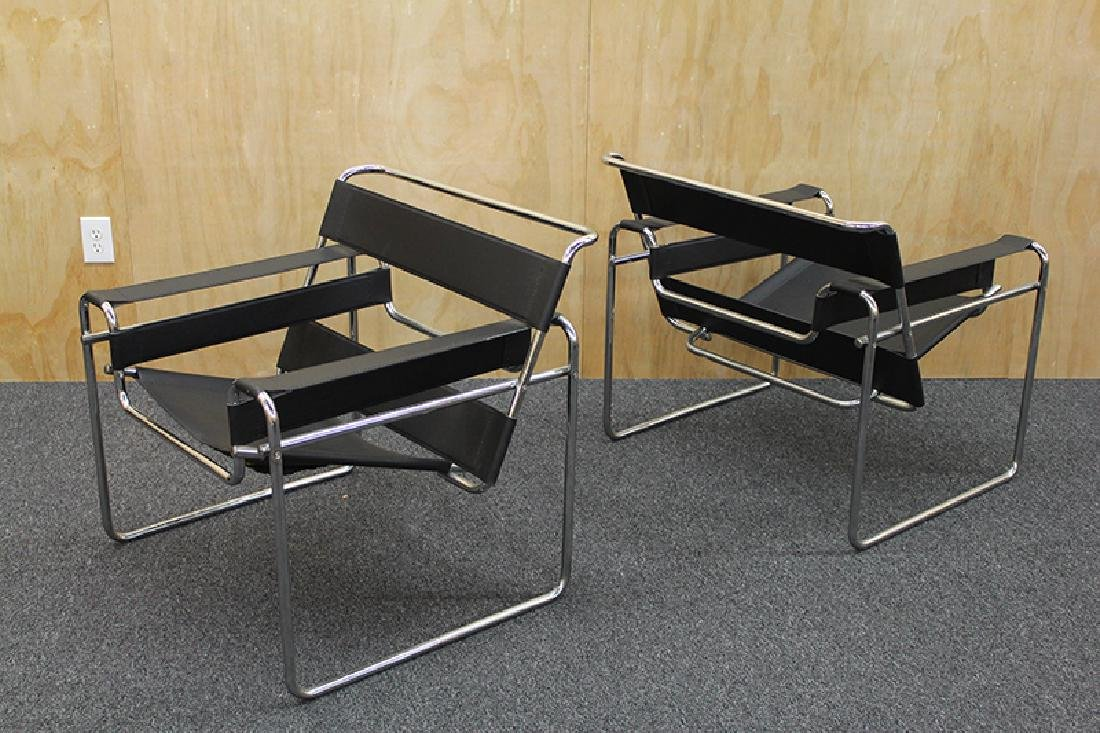 Furniture: style of Marcel Breuer Wassily Club chairs