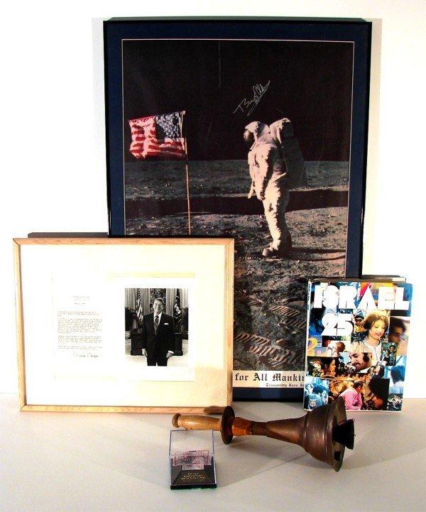 273: Memorabilia: Ronald Regan Buzz Aldren signed poste