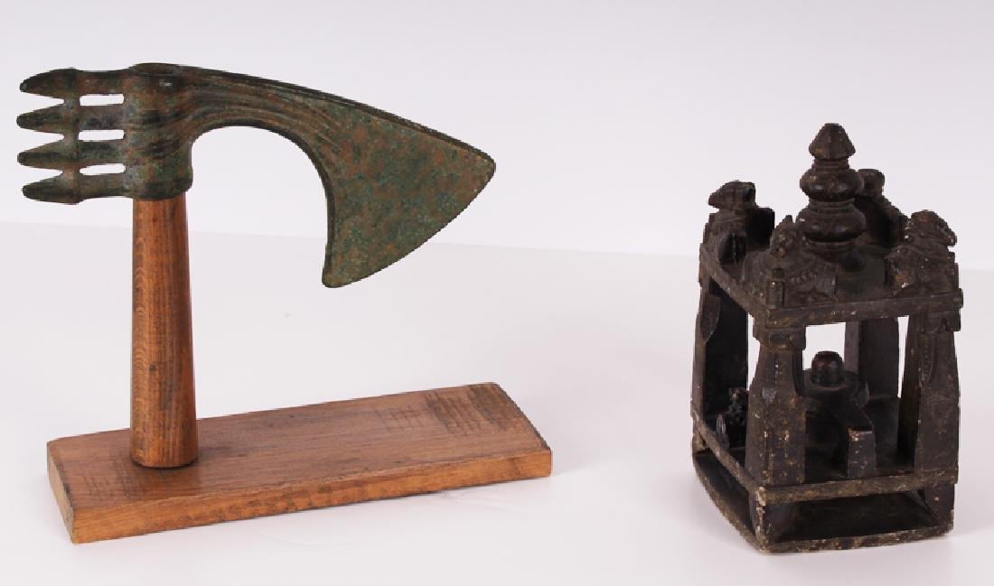 Luristan Axe Head & Antique Hardstone carving (two),