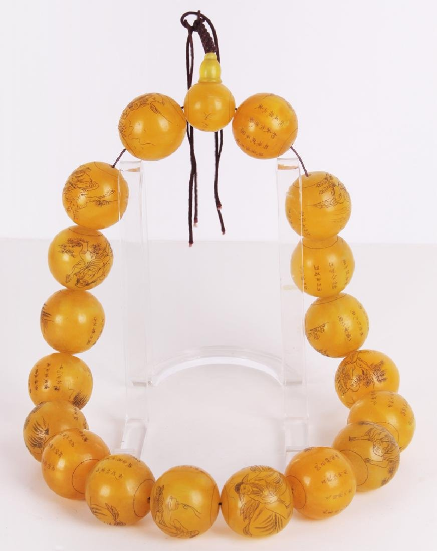 Chinese Buddhist Amber Necklace