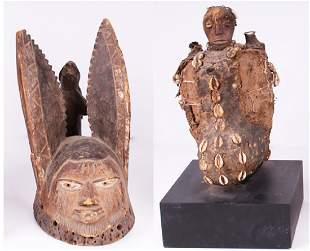 African: Yoruba Mask & Yrubba Shrine (two)