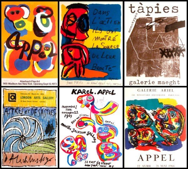 19: Karel Appel (five), Pierre Alechinsky, & Antonio Ta