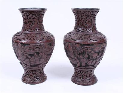 Antique Asian Cinnabar Vases (two)