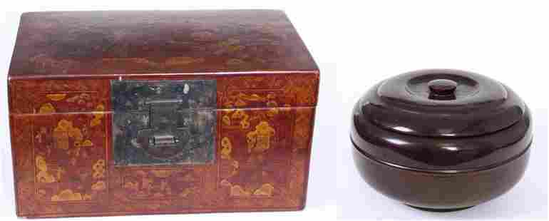 Japanese Lacquerware Chest and bowl two