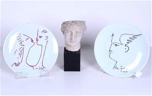 Jean Cocteau Limoges plates (2) & another (three)
