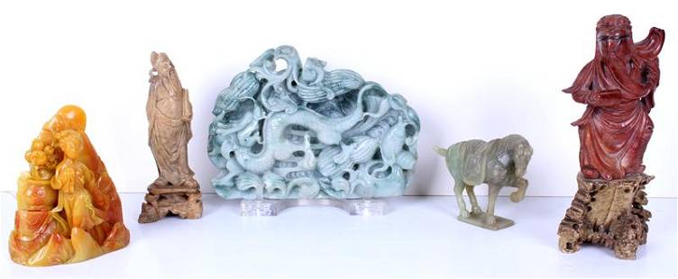 Asian Carved Stone group (five)