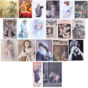 Sarah Bernhardt framed ephemera collection (eighteen)