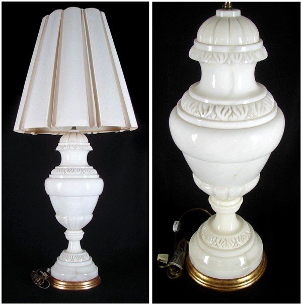 68: Decorative Arts: Alabaster Lamp (early to mid 20th
