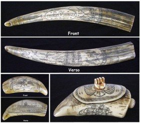 Decorative Arts: Scrimshaw Style Carvings (three)