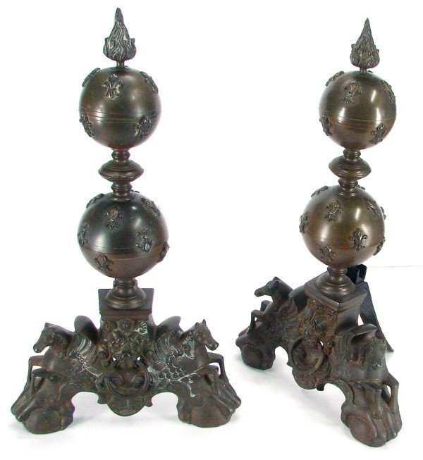 69: Decorative Arts: Baroque Style Bronze Andirons (two