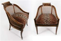 Furniture Vintage caneback chairs two