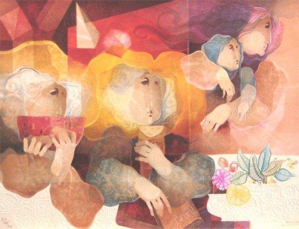 4: Sunol Alvar (b. 1935) Spanish (with drawing)