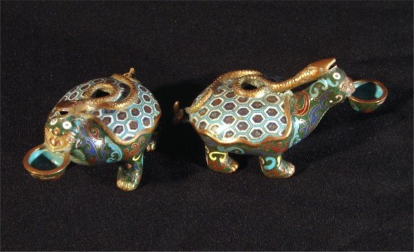23: Asian Cloisonné incense holders (two)