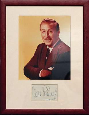 Disney, Walt - Ink signature on album page, mounted
