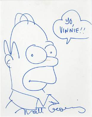 Groening, Matt - Blue felt tip sketch of Homer Simpson