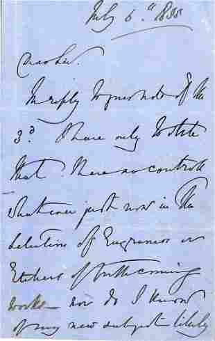 Landseer, Edwin Henry - Autograph letter signed written