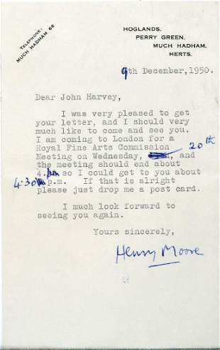 Moore, Henry - Typed letter signed to John Harvey,