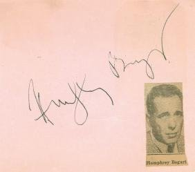 Bogart, Humphrey - Ink signature on a pink album page