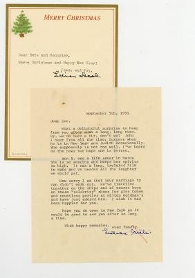 Gish, Lilian - Typed letter signed to Eve Johnson,