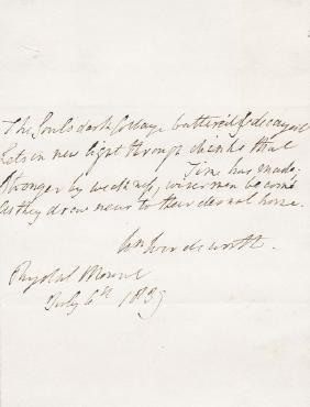 Wordsworth, William - Four-line autograph quotataion