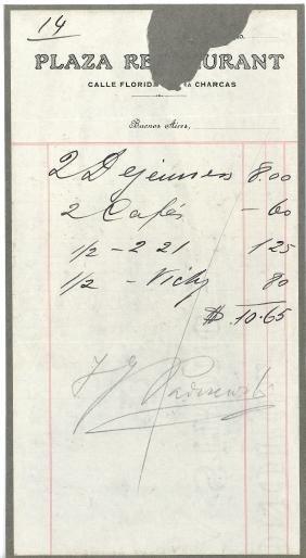 Paderewski, Ignacy Jan & others - 'Plaza Restaurant'