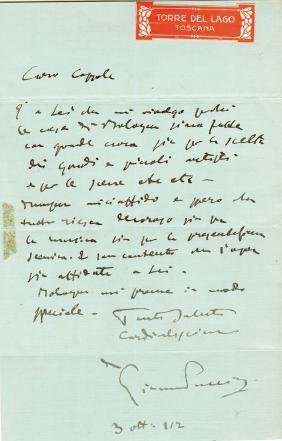 Puccini, Giacomo - Signed autograph letter from Giacomo