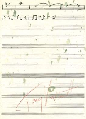 Visconti, Tony - Autograph music score of Tony