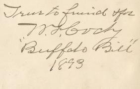 Cody, William Frederick - Signed and inscribed