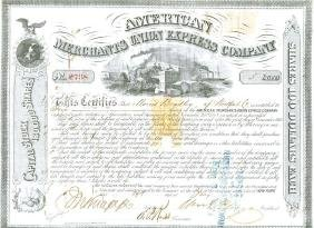 Fargo, William George - Engraved document signed ,