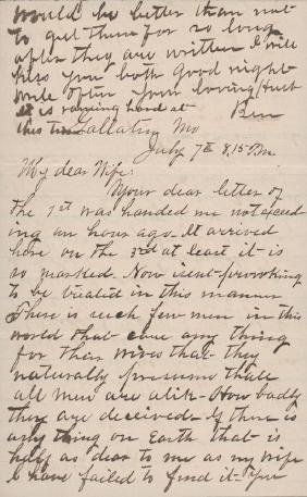 James, Frank - Autograph letter signed to his wife,