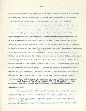 Kennedy, John Fitzgerald - Typed speech on New England,