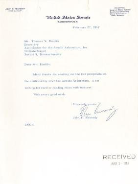 Kennedy, John Fitzgerald - Typed letter signed to Mr