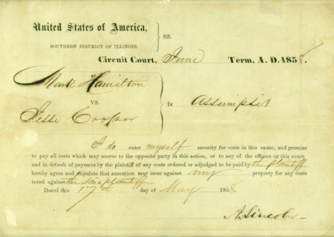 Lincoln, Abraham - Partly printed document signed