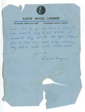 Reagan, Ronald - Autograph letter signed to an English